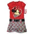 Comercio al por mayor 6 unids/lote 4-10yrs Vestido de Minnie Mouse, MINNIE Vestido para Las Niñas, Minnie de una sola pieza de Vestir con cinturón