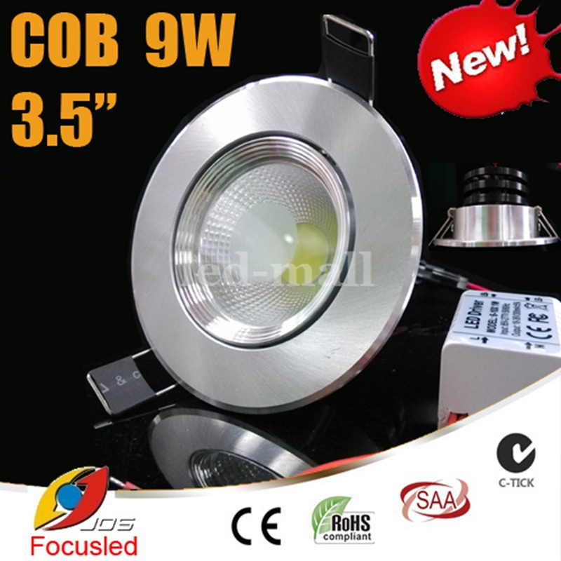 Super Bright 3.5 inch 9W 900LM COB LED Downlights anti-dazzle Fixture Recessed Ceiling Down Lights Warm/Cool/Natural White 4500K