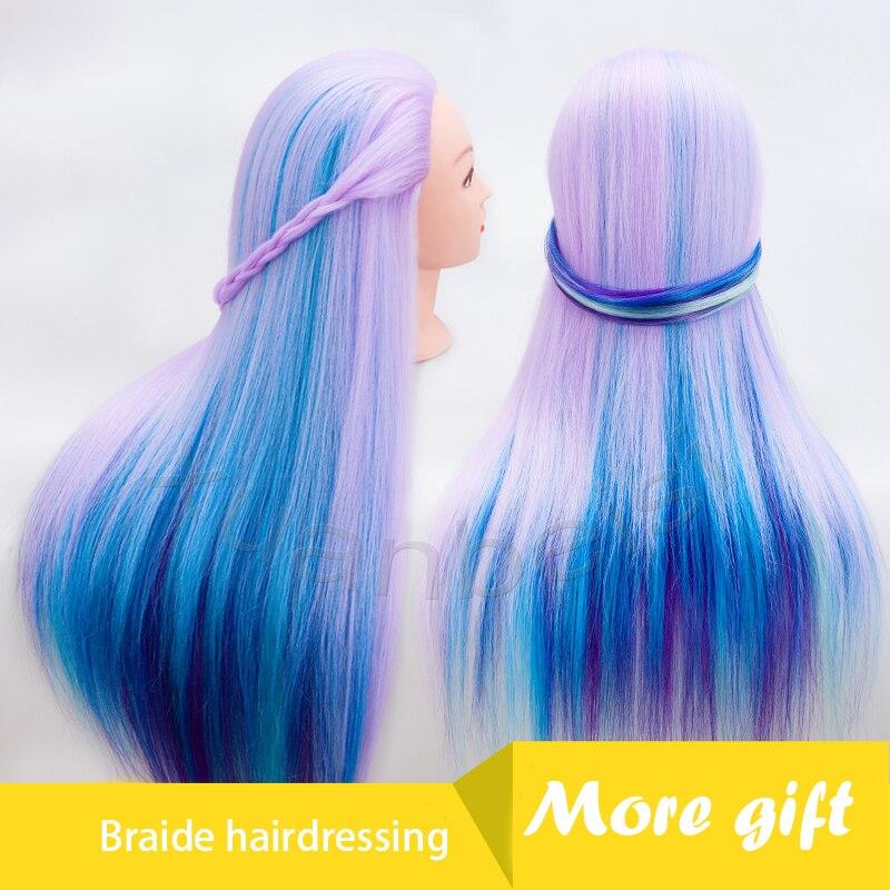 26 pouce Cheveux Coiffure Mannequin Tête Coloré Maniqui Cheveux Perruque Tête Pour Braide Mannequin Mannequins Cheveux Pour Vente Formation Tête
