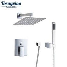 """Torayvino Bad Dusche Set 8 """"quadrat Top Duschkopf Wand Befestigtes Regendusche Wasserhahn Und Platz Handbrause Auslauf Set"""