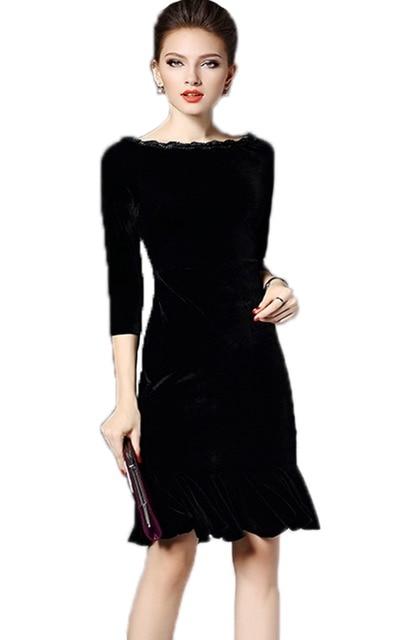 a59a3bc8e12 Free Shipping Womens Velvet Midi Dress Black 3 4 Sleeve Flounce Dress Boat  Neck Mermaid