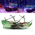 Decorations Wreck Sunk Ship Aquarium Plastic Boat Air Split Shipwreck Fish Tank Decoration For Reptile Box