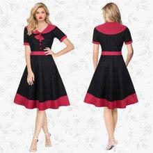 Zioksy Brand S - XXL Women Dress Casual Bow tie Collar Short-Sleeve Summer Dresses Elegant 3 Colors Vestidos