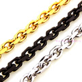 Novel Unique 8MM Wide Silver Black Gold Tone Curb Cuban Link Chain 316L Stainless Steel Bracelet/Necklace 7-40inch Custom Sizes