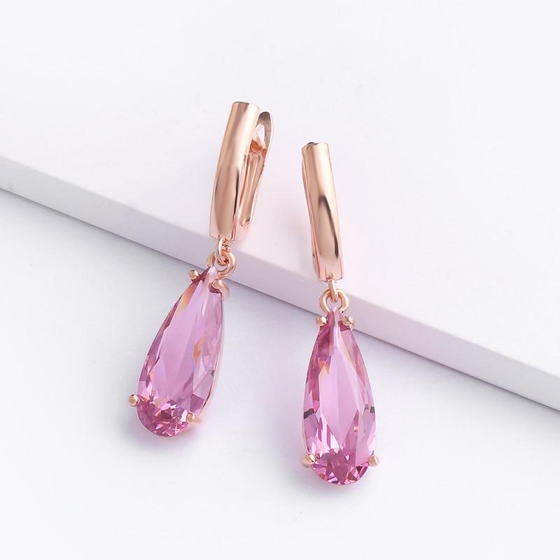 Новинка, 8 цветов, Золотые серьги 585 для женщин, большие висячие серьги в форме капли воды с розовым камнем, модные ювелирные украшения для ве...