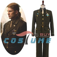 The Avengers Captain America Steve Rogers WWII Army SSR Cosplay Costumes Men Uniform Halloween Costumes
