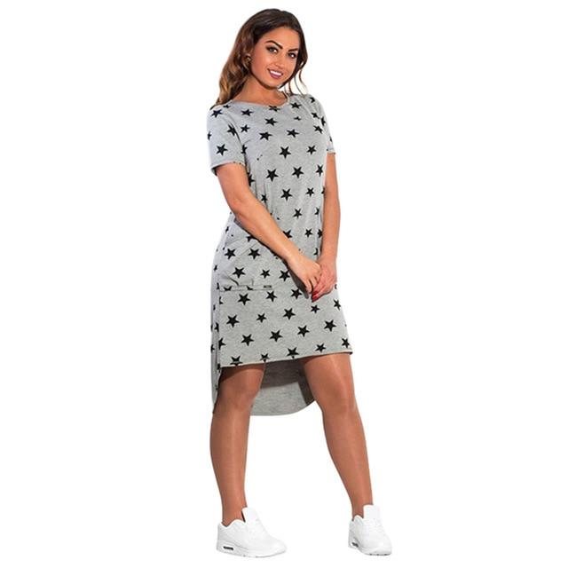 5XL 6XL Large Size New Women's Dress Casual Summer Plus Size Five Stars Irregular O Neck Short Sleeve Dress Big Size Vestidos 5