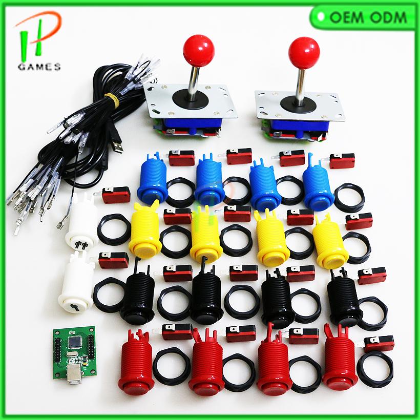 Prix pour DIY pièces D'arcade Faisceaux kit pour 2 joueurs Jamma USB contrôle conseil à PC PS3 4/8 façon zippy Joystick, Heureux style Push buttonto