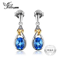 JewelryPalace Love Knot 1 9ct Natural Blue Topaz Diamond Accented 925 Sterling Silver 18K Gold Dangle