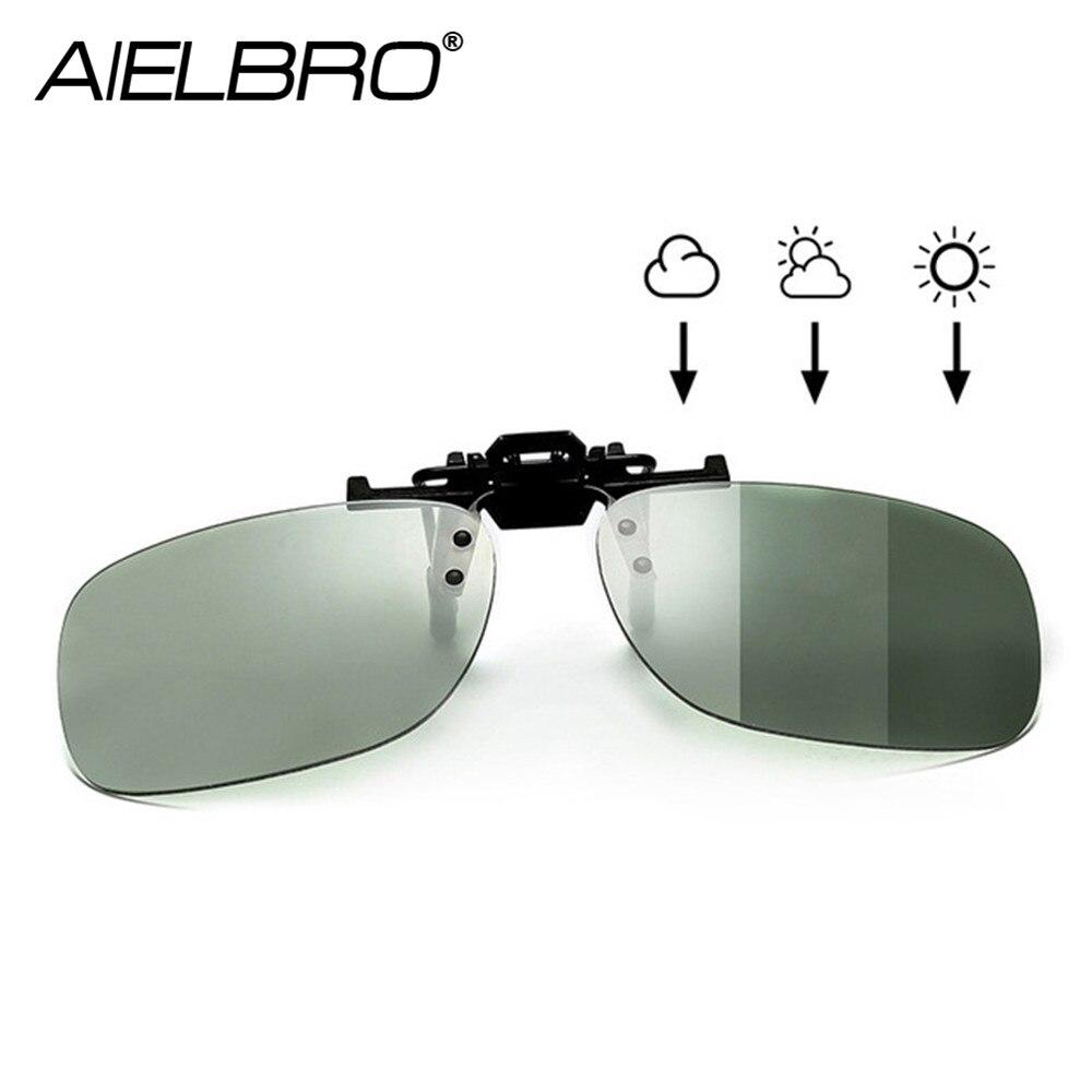 Hombres polarizados cuadrado Flip Up Clip en gafas de sol fotocromáticas senderismo ciclismo gafas mujeres gafas de sol Clips para miopic