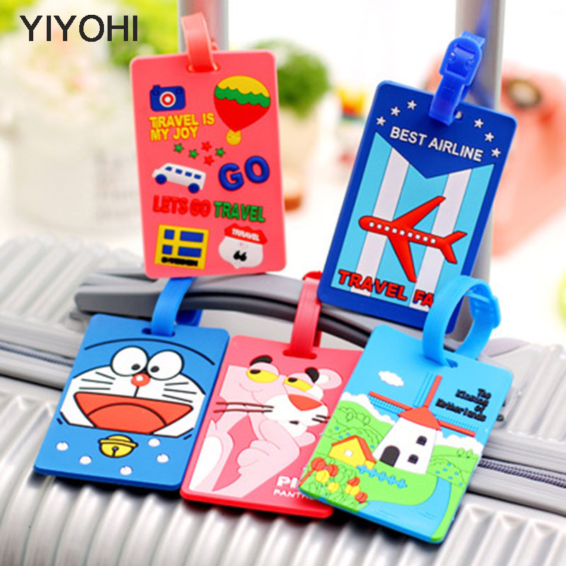YIYOHI Kawaii Suitcase Luggage Tag Cartoon ID Address Holder Baggage Label Silica Ge Identifier Travel Accessories Free Shipping funky travel luggage label straps luggage tag 2016 for cartoon silicone suitcase korean style name id address tags luggage tag