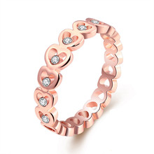Woman's Rose Gold Plated Czech Drill Crystal US Size 6-8 Ring anillo anelli donna aneis feminino