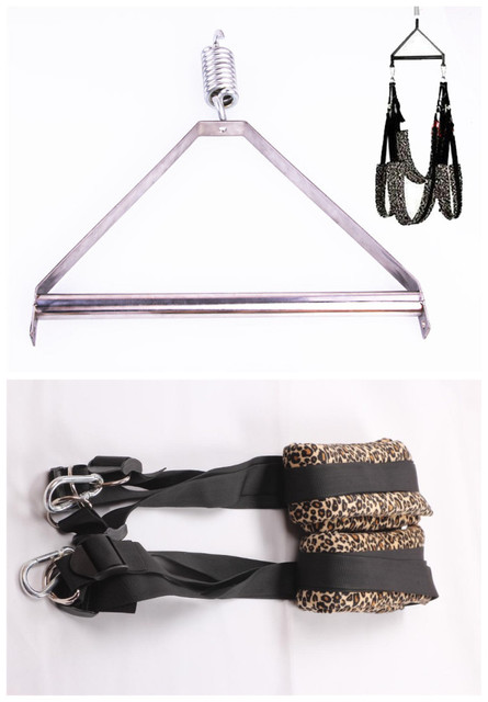 2PCS/lot Sexy Golden Leopard lLxury Love Swing + Adult Sex Swing Steel Tripod Bondage Set Sex Furniture Tools,Sex Toys For Woman