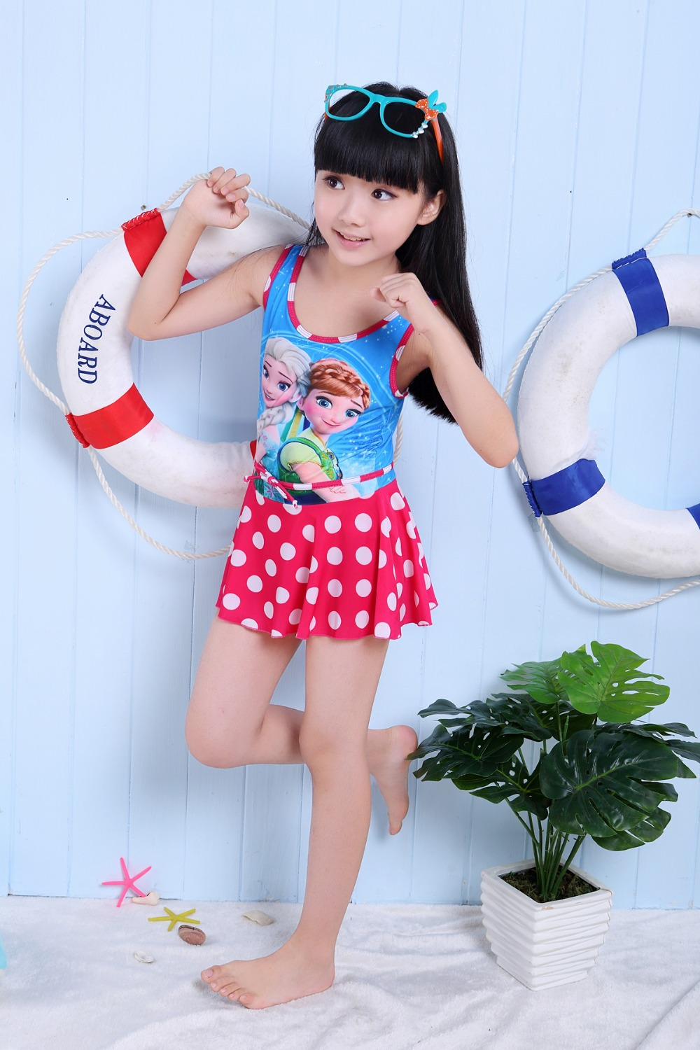 Free Shipping 2015 Elsa Anna Baby Girls Bathing Suits Childrens -3216