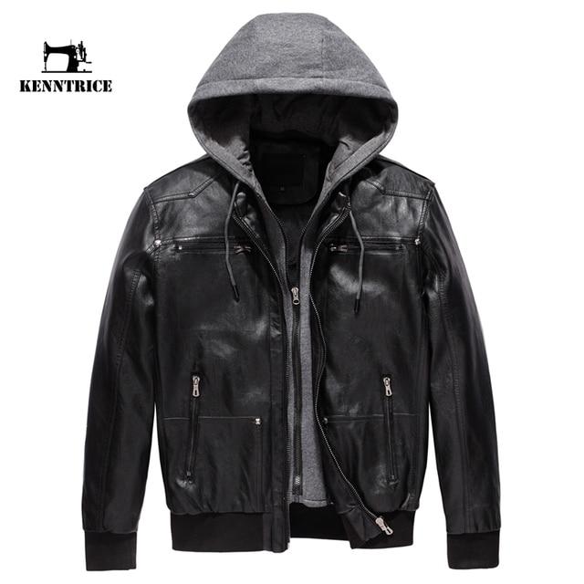 KENNTRICE Leather Hooded Jacket Men Motorcycle Jacket