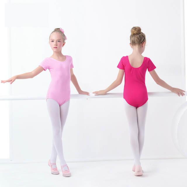 64c53e797c043 US $3.96 12% OFF Black Girls Kids Gymnastics Leotard Cotton Spandex Ballet  Leotards Short Sleeve Ballet Clothes Dancewear-in Ballet from Novelty & ...