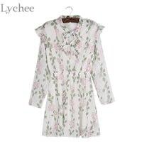 Spring Summer Women Dress Bow Tie Floral Print Ruffle Chiffon Cute Casual Long Sleeve Dress