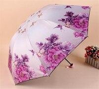 ร้อนขายใหม่สไตล์ผู้หญิงฝนร่มภาพวาดดอกโบตั๋นร่มW Indproofป้องกันรังสียูวีร่มพับดอกไม้สำหรับสา...