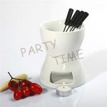 Ceramic fondue set diy raclette cheese hot pot chocolate warmer