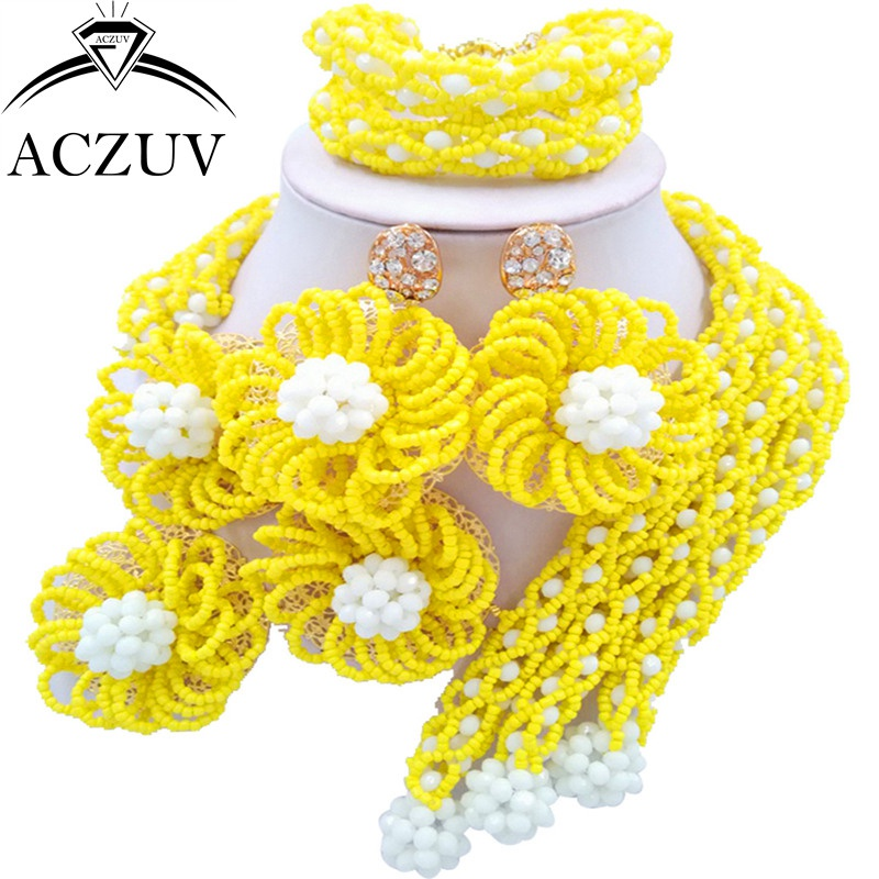 ACZUV Latest Women African Beads Jewelry Set Yellow and White Nigerian Necklace and Earrings for Brides C3F016 chic rhinestone african plate shape pendant necklace and earrings for women