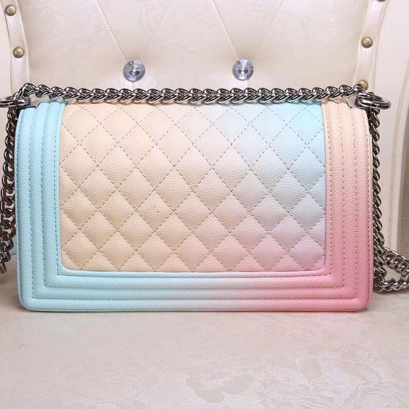AISAISI famous brand high quality Women Caviar Genuine leather handbag luxury Chain Plaid shoulder Flap bag girl bag Multicolor все цены