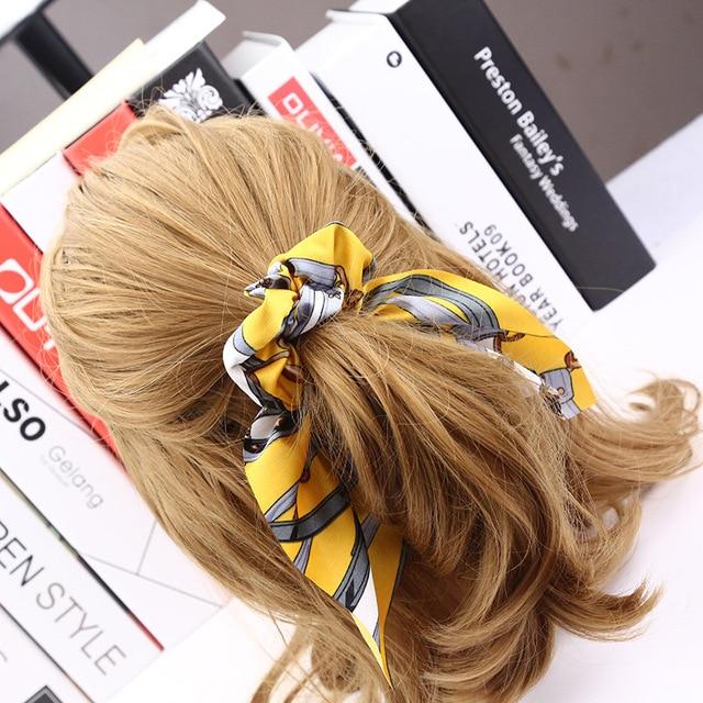 Women Vintage Big Bowknot Ribbon Hair Scrunchies Print Fabric Hair Ties Hair Holder 7 Colors Quality Satin Ear Hairbands