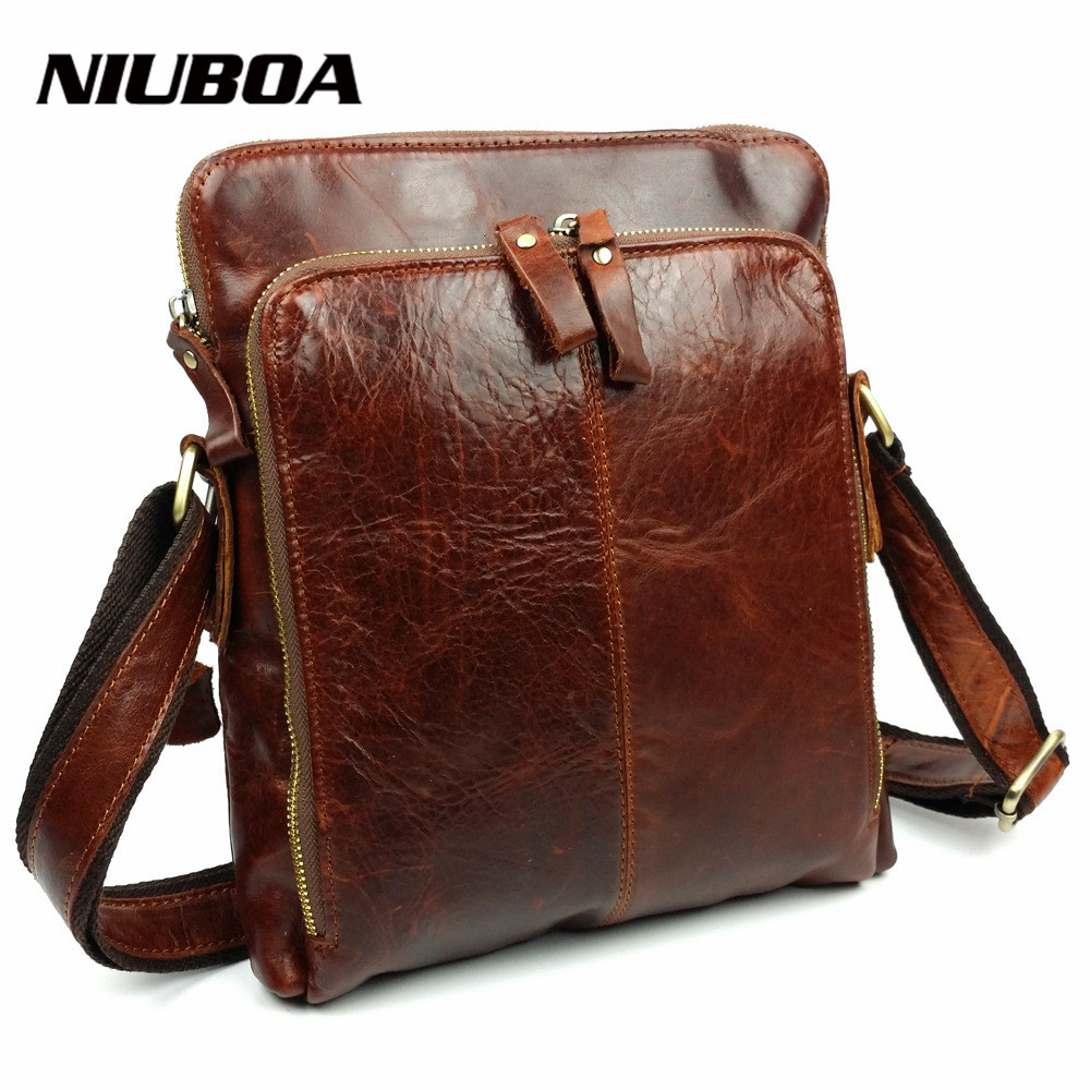 100% Genuine Leather Mens Shoulder Bags Briefcase Male Real Leather Business Travel Bag Fashion Brand Messenger Bag
