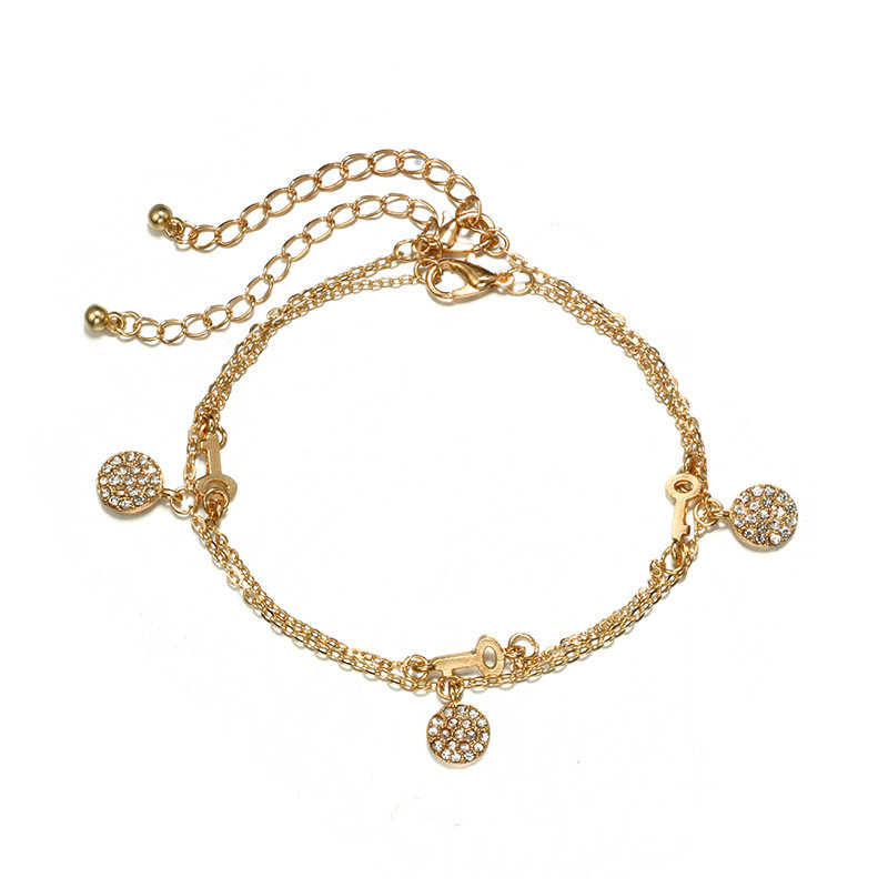 Beach Multi Layer Key Round Star Anklets Bracelets For Female Fashion Mosaic Zircon Gold Color Chain Anklets Girl Wedding Gifts in Anklets from Jewelry Accessories