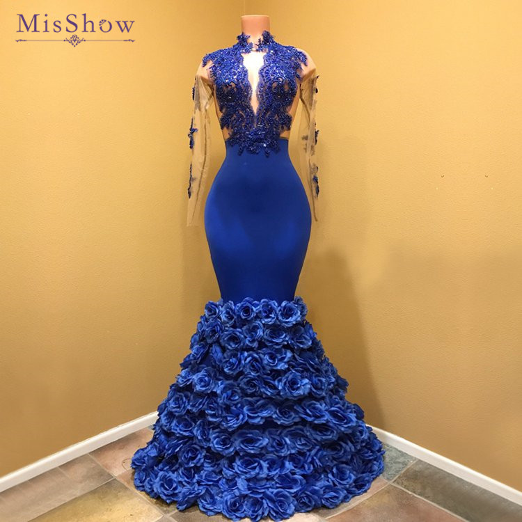 Sexy Women Royal Blue Mermaid   Prom     Dresses   2018 African Sheer Beaded Lace 3D Rose Flowers Long Sleeve   Prom   Party Gowns