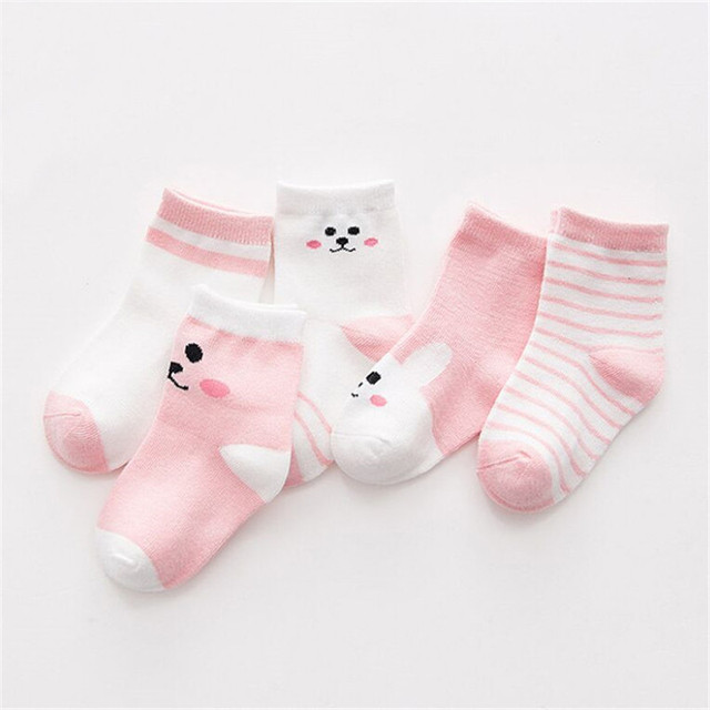 5-Pairs Set of Cotton Socks for Infants and Babies with Cute Designs