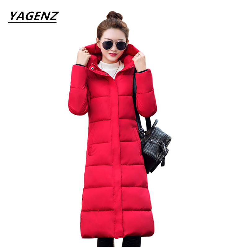 Women Basic Coats 2017 NEW Winter Long Coat Thick Down Cotton Jacket Plus Size Cotton-padded Clothes Female Outerwear YAGENZ A11 2017 winter women long hooded cotton coat plus size padded parkas outerwear thick basic jacket casual warm cotton coats pw1003