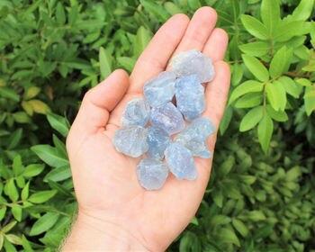 Lote 4 piezas duro celestita Natural puntos crudo rocas Natural curación de cristal)