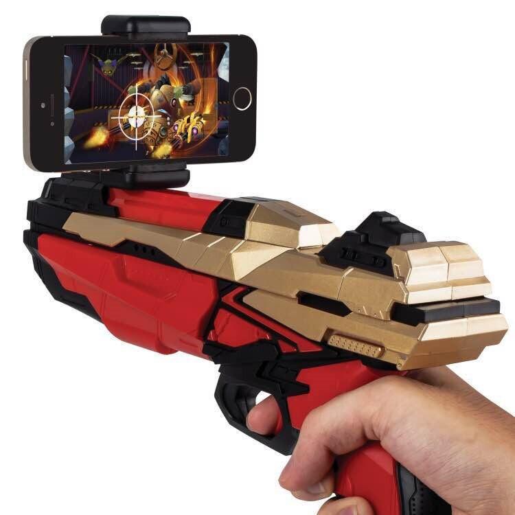 2017 Portable Bluetooth ar-gun nouveau style 3D VR jeux en bois matériel jouet AR jeu pistolet pour Android iOS iPhone téléphones