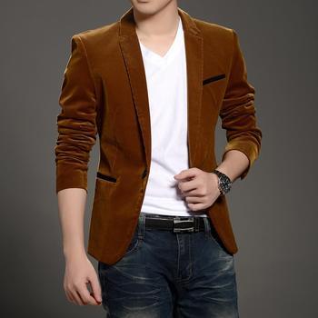 2019 nueva marca de Moda hombre blazer chaqueta de primavera otoño invierno  abrigo de corte slim de pana hombre blaser jaqueta masculina envío gratis d87a256862d