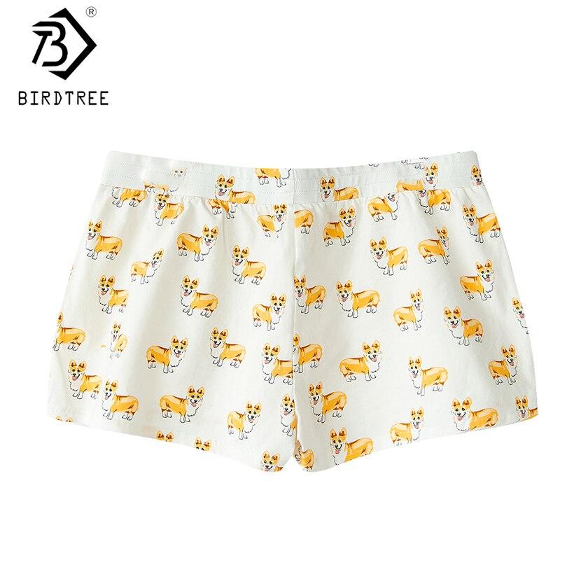 2019 Frauen Nette Corgi Cartoon Print Casual Shorts Lose Lounge Lose Weiß Elastische Taille Stretchy Baumwolle Plus Größe 2xl B80904l Unterwäsche & Schlafanzug