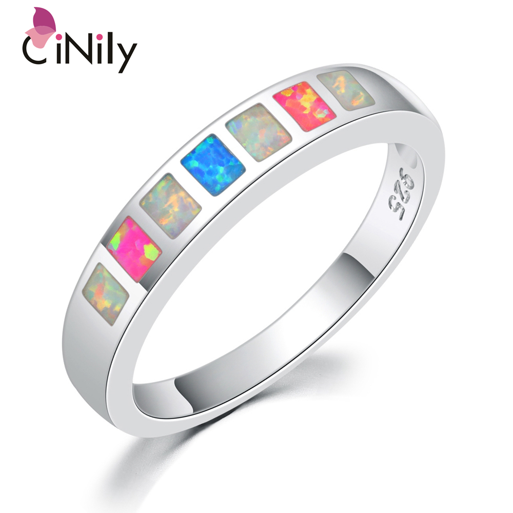 Cinily Fire-Opal Jewelry Ring-Size Silver-Plated Blue White Fashion Women for Gift 6/7/8/9-oj7851