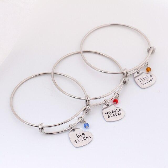 Sister Middle Little Bracelet Set Sisters Charm