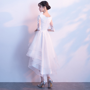 Image 3 - White High Low Dress 2018 Elegant O neck Short Front Long Back Lace Prom Dresses With Half Sleeves Special Occasion Dresses