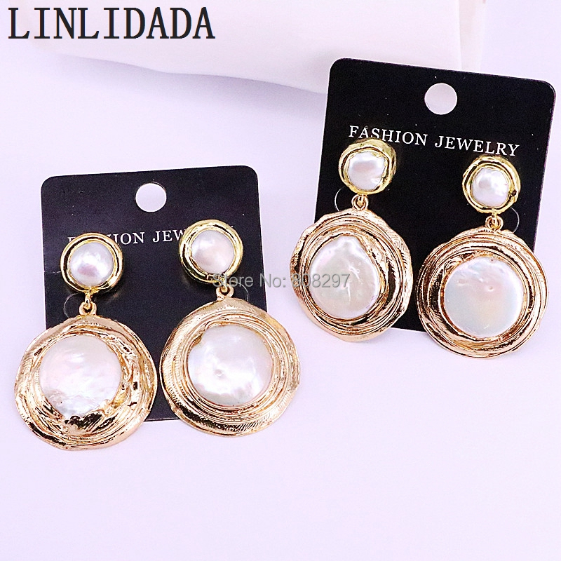 3Pair New Fashion Round Natural Pearls Dangle Earrings Gold Color Women Wedding Party Jewelry