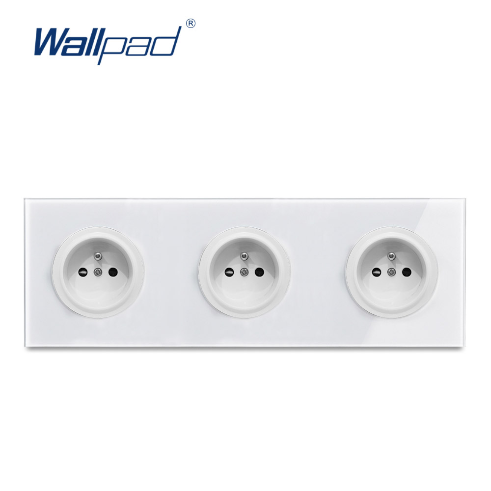 Wallpad Crystal Tempered Pure Glass Panel 16A Double EU French Wall Power Socket Outlet Grounded With Child Protective LockWallpad Crystal Tempered Pure Glass Panel 16A Double EU French Wall Power Socket Outlet Grounded With Child Protective Lock