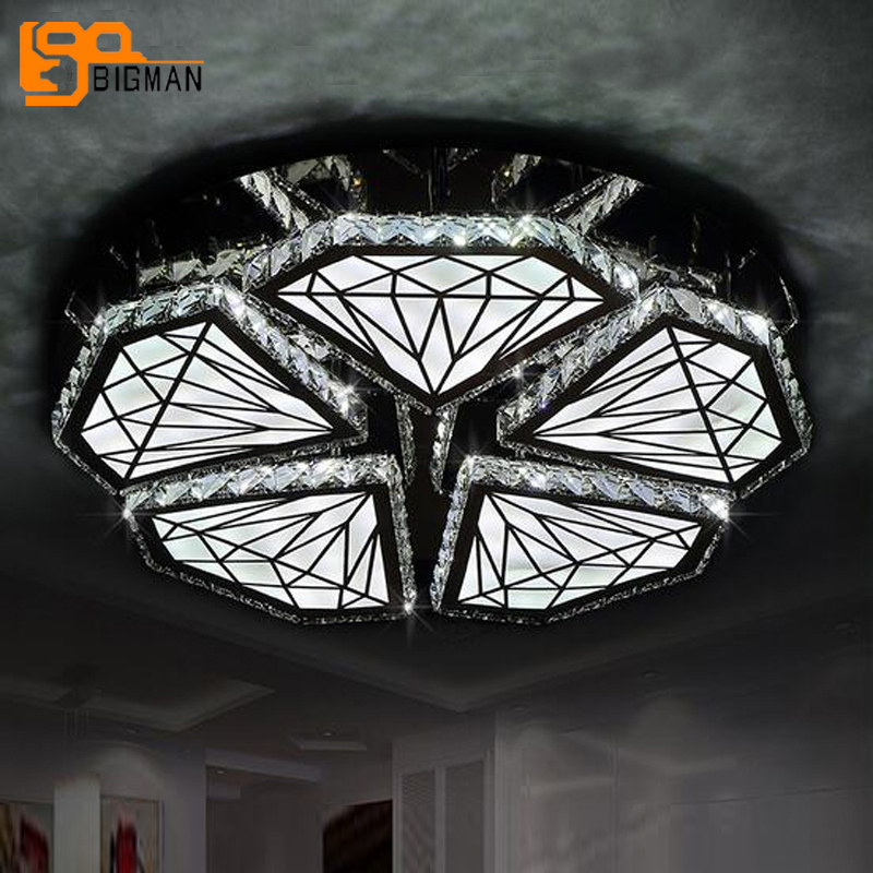 new brief design crystal ceiliing lights for living room lustre lampe plafond ceiling LED light for home noosion modern led ceiling lamp for bedroom room black and white color with crystal plafon techo iluminacion lustre de plafond