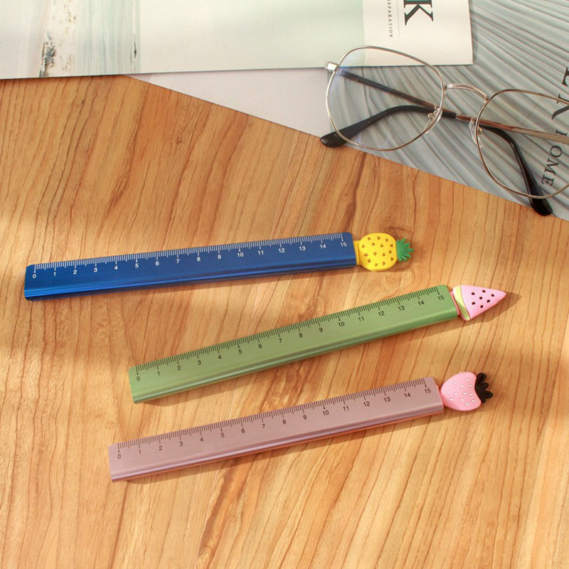 1X Lovely Strawberry Pineapple Watermelon Straight Ruler Study Drawing Tool Student Stationery School Office Supply Promotion
