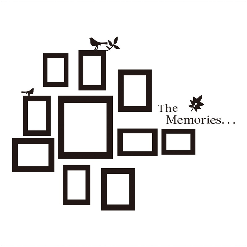 wall decal family art bedroom decor  pvc wall art wall quote sticker birds photo frame flower removable decor decals family photo frame art room wall paper