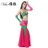 Quality Sexy Belly Dance Costume Set Suit Women Adult Beaded Indian Bollywood Dance Costume Long Belly Mermaid Skirt Top Set