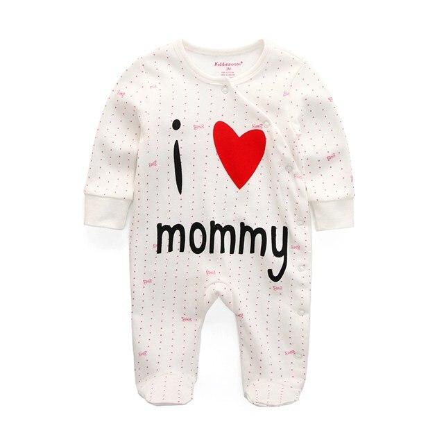 Для маленьких девочек сна; одежда для сна с мультяшным рисунком для малышей Детские пижамы хлопок Длинные рукава Детские пижамы с надписью «i love daddy» детские комбинезоны с рисунками - Цвет: i lovbe mommy 1106
