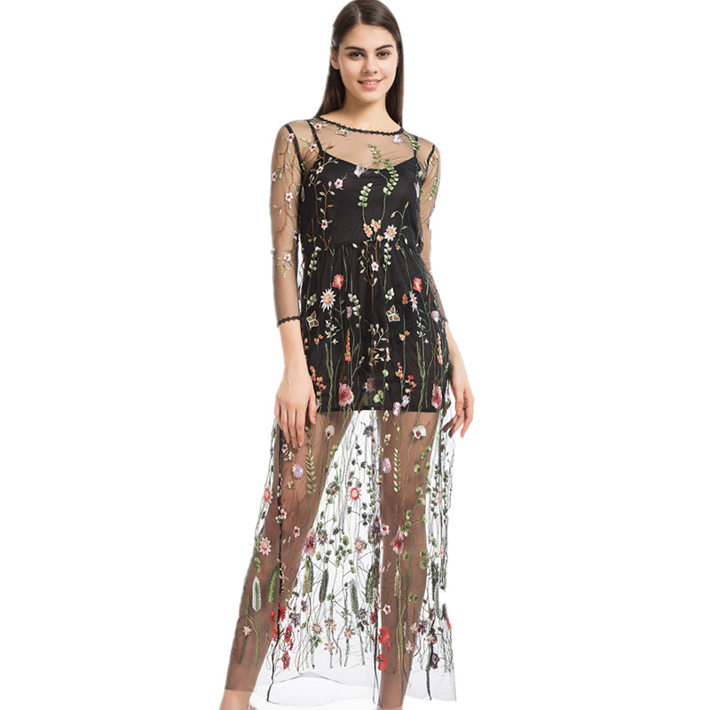Lining Dress Newest Fashion Mesh Flower Floral Embroidery Runway Maxi Women Black Bohemia Beach Perspective Long