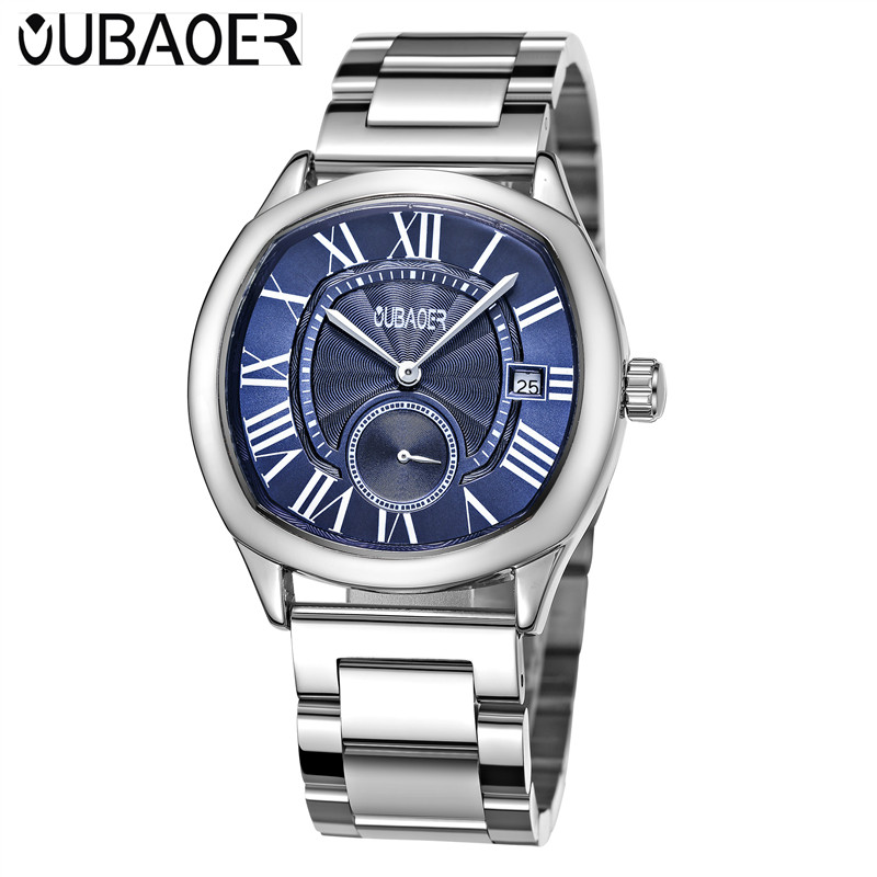 OUBAOER Men's Wrist Watches Top Brand De Luxe Quartz Watch Relojes Hombre Man Watch 2017 Steel Male Clock Men Relogio Masculino laptop motherboard for hp dv7 7000 681999 001 system mainboard fully tested and working well with cheap shipping