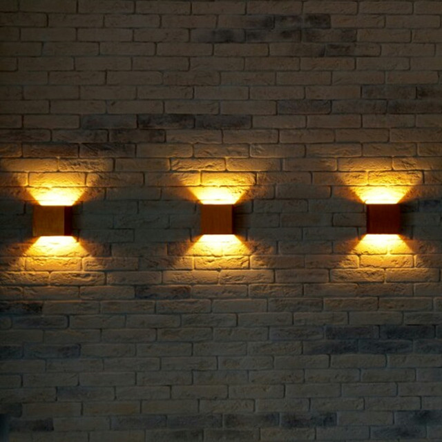 3pcs X Led Wall Lamp For Tv Background Living Room Indoor Decorative Lights Cube Black Silver Gold Lampshade Up Down
