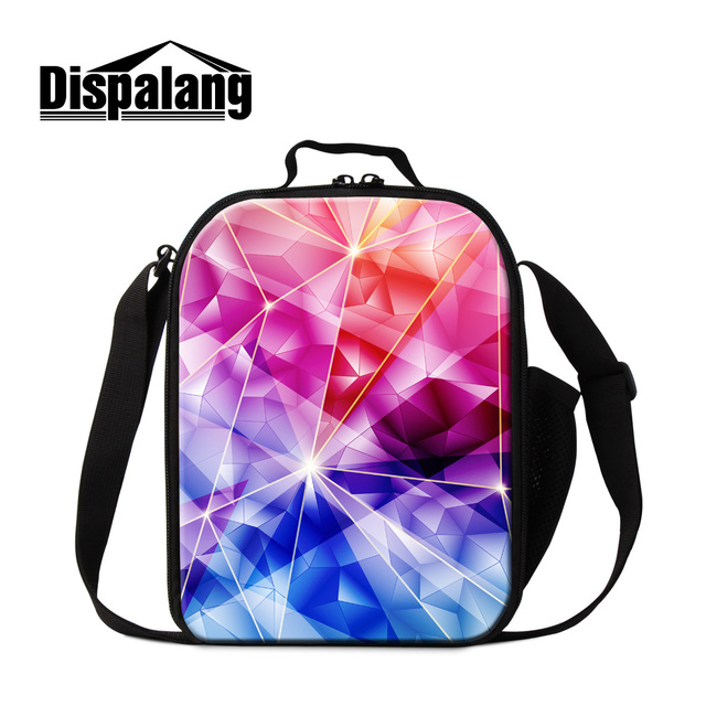 Dispalang beautiful 3D geometry pattern lunch cooler bag for girl women lovely lunch bags practical thermal picnic bag wholesale