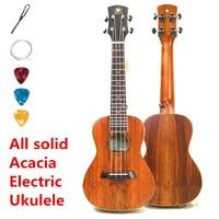 Ukulele Concert Acoustic Electric Concert 23 Inch All Full Solid Acacia Mini Guitar 4 Strings Ukelele Guitarra Handcraft Uke